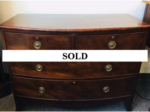 "ENGLISH ANTIQUE SERPENTINE MAHOGANY CHEST OF DRAWERS 42.5""W X 20""D X 32""H $495"
