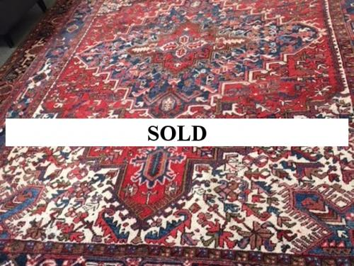 HAND WOVEN RED/NAVY ORIENTAL RUG 10.5' X 7.8' $795
