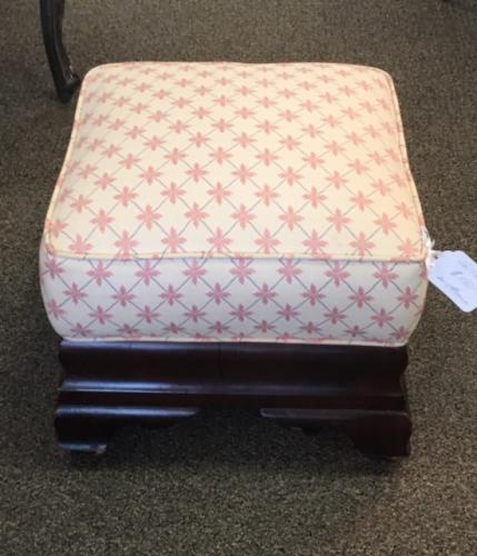 "VICTORIAN UPHOLSTERED FOOT STOOL 16"" X 16"" X 14""H $150"