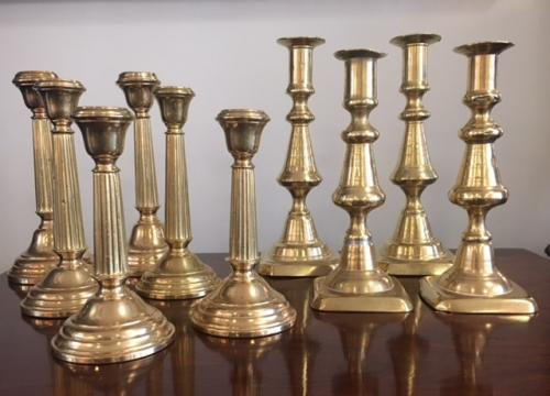 COLLECTION OF BRASS CANDLESTICKS $48 - $120