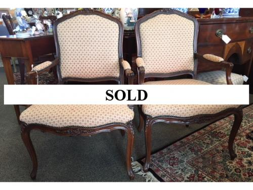"""PR FRENCH STYLE ARM CHAIRS 26.5""""W X 20.5""""D X 40""""H $695"""