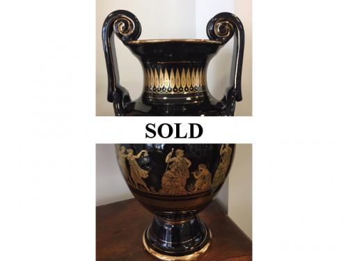 """BLACK/GOLD GREEK URN 15""""H $120"""