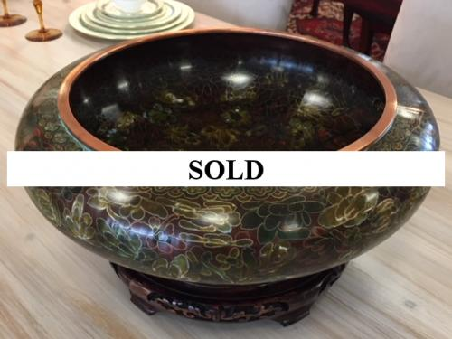 "CLOISONNE BOWL  W/ STAND 15.5"" DIAMETER $195"