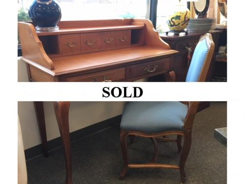 "FRENCH STYLE MAPLE DESK WITH CHAIR 39.5""W X 19.5""D X 31""H $295"