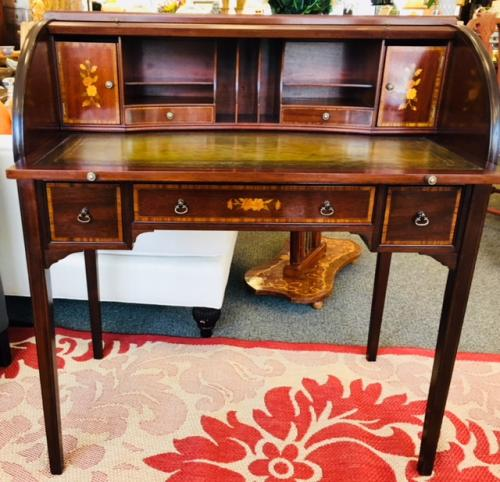 "ANTIQUE ENGLISH MAHOGANY CYLINDER DESK WITH INLAY 35""W X 20""D X 40""H $1895"