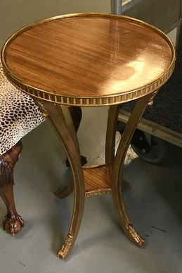 "SIDE TABLE W/ GOLD LEAF 18"" DIAMETER X 29.5""H $395"