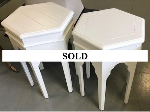 "PAIR OF MOROCCAN STYLE WHITE SIDE TABLES 19"" DIAMETER X 26.5""H $295"