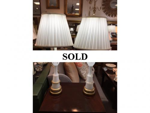"PAIR OF OPALINE LAMPS 27""H $350"