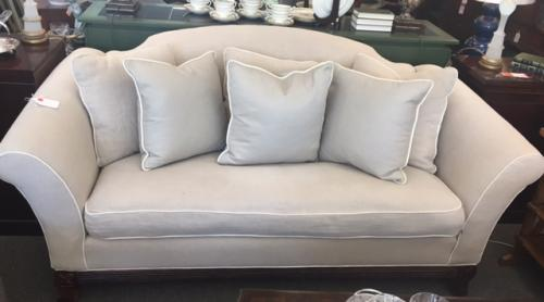 "LINEN UPHOLSTERED APARTMENT SIZE SOFA 80""L X 36""D X 36""H CONSIGNED AT $995 REDUCED TO SELL $795"