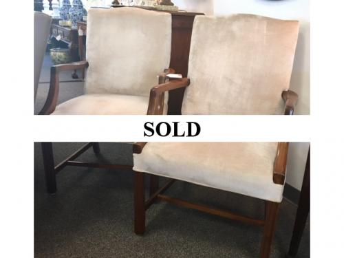 "PAIR OF BEIGE REGENCY STYLE PULL UP CHAIRS 24""W X 22""D X 39""H $495"