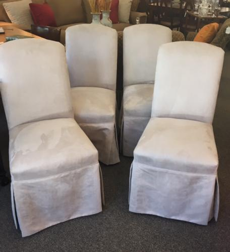 "SET OF 4 ULTRA SUEDE UPHOLSTERED CHAIRS W/  NAILHEAD TRIM  19""W X 21""D X 37""H CONSIGNED AT $595 REDUCED TO SELL $475"