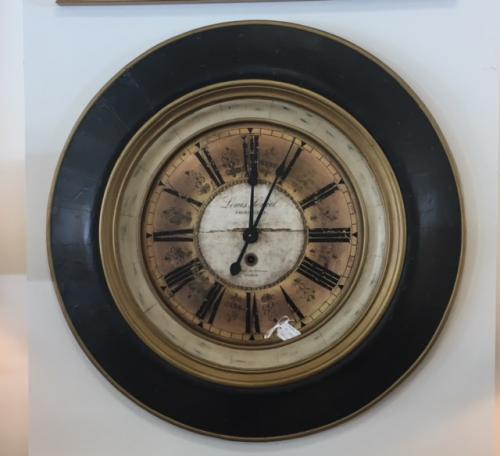 "BLACK & GOLD WALL CLOCK 36"" DIAMETER $195"