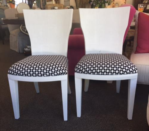 "PAIR OF FAUX SHAGREEN CHAIRS W/ BLACK & WHITE SEATS 19""W X 16""D X 36""H $450"