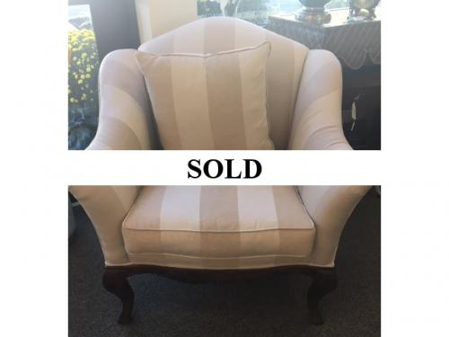 "OVERSIZE BEIGE/IVORY STRIPED UPHOLSTERED CHAIR 37""W X 20""D X 37""H $395"