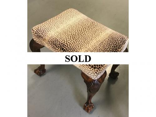"LEOPARD UPHOLSTERED STOOL W/ QUEEN ANNE LEGS 21""W X 16""D X 18""H $295"