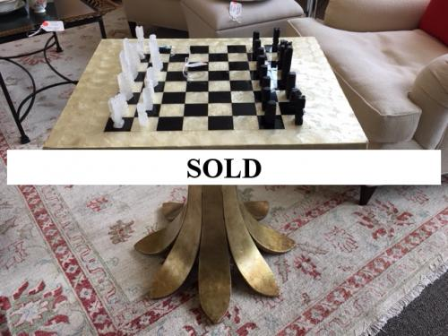 "MOTHER OF PEARL CHESS TABLE W/ TULIP GILT BASE INCLUDING CHESS PIECES 20""L X 24""W X 25""H $350"