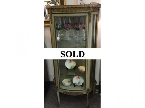"FRENCH STYLE CURIO CABINET W/ MARBLE TOP & ORMOLU MOUNTS 26""W X 13""D X 54""H $450"
