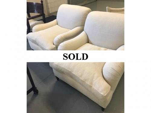 PAIR OF BEIGE CLUB CHAIRS $595