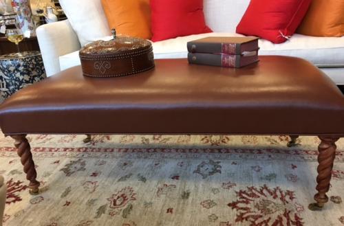 "BROWN LEATHER BENCH W/ BARLEY TWIST LEGS 48""L X 24""D X 18""H $395"