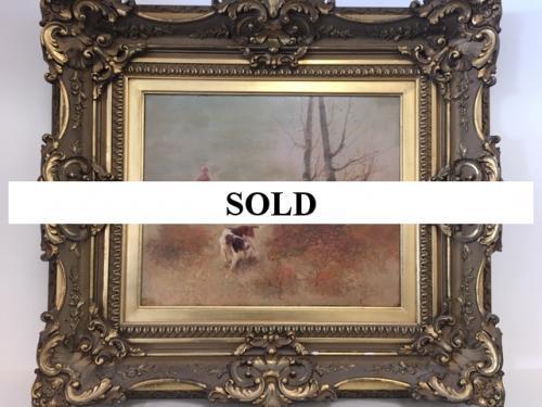 OIL PAINTING BY FRENCH ARTIST EUGENE PETIT HUNT SCENE $995