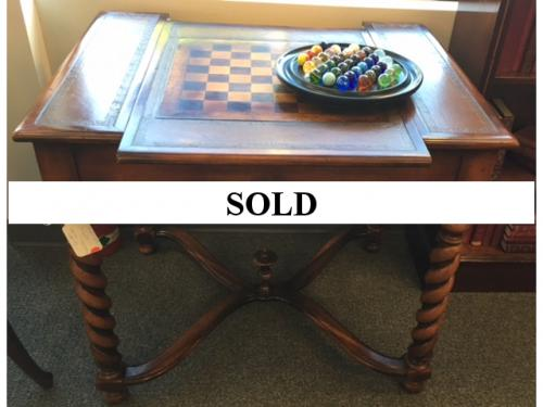 "GAME TABLE W/ CHESS & BACKGAMMON 34""L X 27""D X 30""H $450"