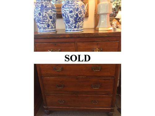 "ANTIQUE ENGLISH 2 OVER 3 CHEST 38""W X 18""D X 45""H $550"