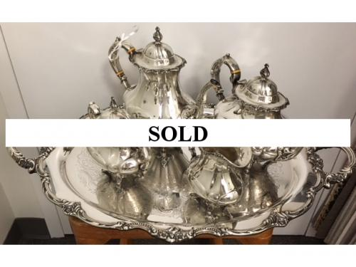 REED & BARTON STERLING COFFEE & TEA SERVICE  SILVER PLATED TRAY  PRICED TO SELL $1795
