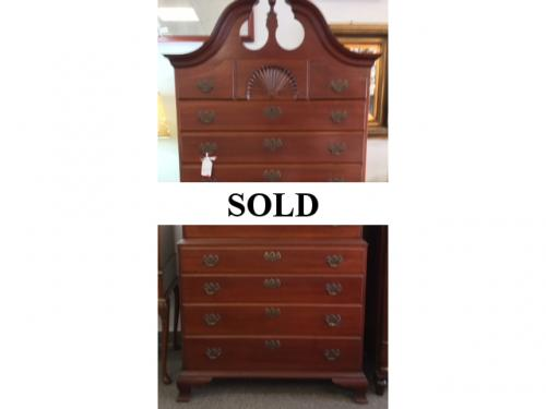 "MAHOGANY CHEST ON CHEST  38""W X 7'H X 20""D  $1295"