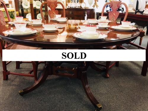 """ENGLISH MAHOGANY PEDESTAL TABLE BY BEVAN FUNNELL 60"""" ROUND W/ CIRCULAR EXTENSIONS 84"""" $1795"""