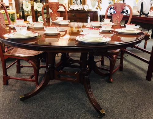 "ENGLISH MAHOGANY PEDESTAL TABLE BY BEVAN FUNNELL 60"" ROUND W/ CIRCULAR EXTENSIONS 84"" $1795"