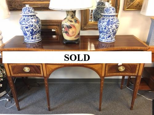 "COUNCILL MAHOGANY W/ SATINWOOD INLAY SIDEBOARD  66""W X 23""D X 37""H  $895"