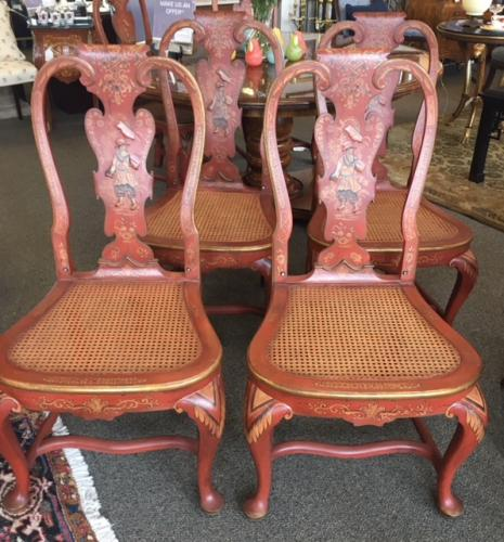 "SET OF 10 RED CHINOISERIE CHAIRS  21""W X 18""D X 41""H  CONSIGNED AT $1595 REDUCED TO SELL $1115"