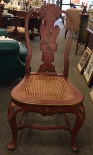 """SET OF 10 RED CHINOISERIE CHAIRS  21""""W X 18""""D X 41""""H  $1595"""