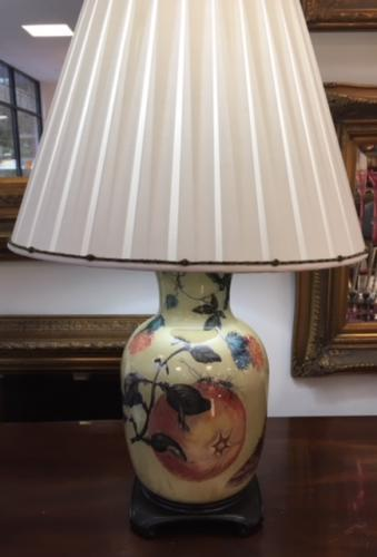"HAND PAINTED GLASS LAMP 29""H X 18""D $195"