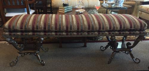 "UPHOLSTERED BENCH W/ IRON BASE STRIPE FABRIC 66""W X 17""D X 22""H $495"