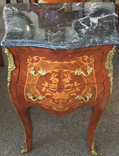 "ITALIAN MARBLE TOP SMALL COMMODE W/ INLAY 20""W X 13""D X 28""H PAIR AVAILABLE $395 EACH"