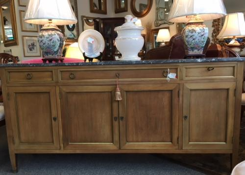 "MARBLE TOP FRENCH STYLE CABINET 72""W X 16""D X 35""H $1495"