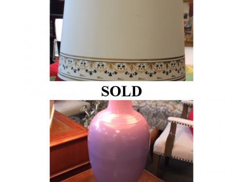 """LAVENDER LAMP 16""""D X 31""""H $250"""