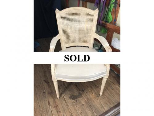 "FRENCH STYLE/CANE BACK CHAIR 23""W X 20""D X 39""H $295"