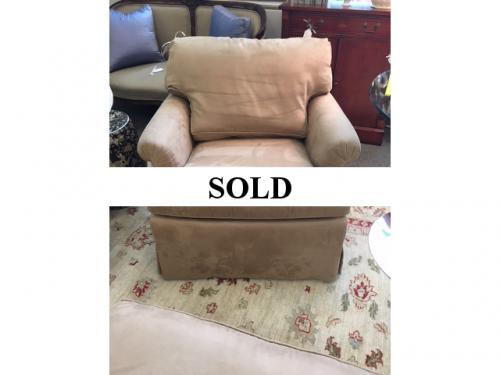 "SUEDE-LIKE UPHOLSTERED CHAIR 34""W X 34""D X 29.5""H $395"