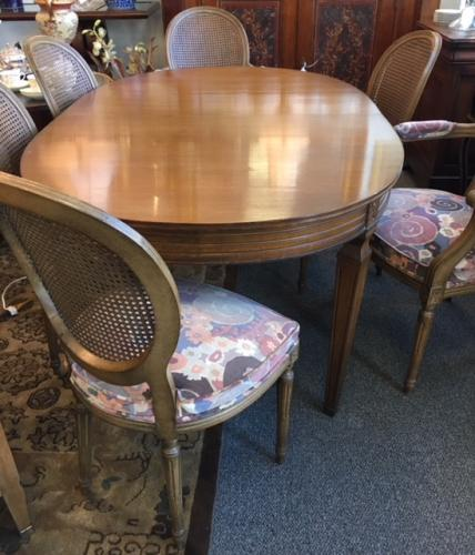 "OVAL DINING ROOM TABLE (2 LEAVES) W/ 8 FRENCH STYLE CHAIRS 42""W X 66""L X 29.5""H $795"