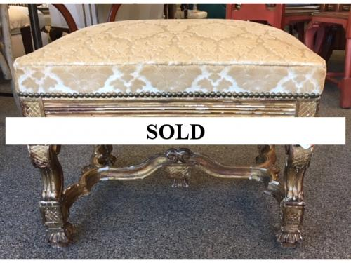 "SMALL PAINTED FRENCH BENCH 24""W X 19""D X 17""H $180"