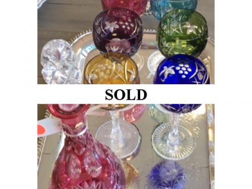 SET OF 6 BOHEMIAN GLASSES W/ DECANTER $195