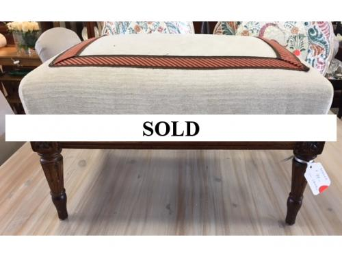 "MUCH SOUGHT AFTER UPHOLSTERED FOOT STOOL 19.5""W X 15.5""D X 11""H $99"