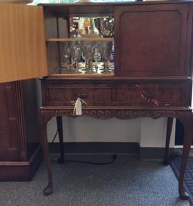 ENGLISH WALNUT COCKTAIL CABINET c1920-$995