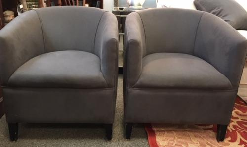 "PAIR ENGLISH TUB CHAIRS WITH GRAY UPHOLSTERY c1940 24""W X 25""D X 28""H $2995"