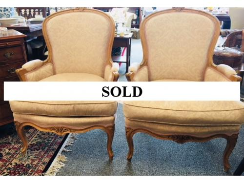"PAIR OF FRENCH STYLE BERGERE CHAIRS 27.5""W X 21""D X 38""H $550"