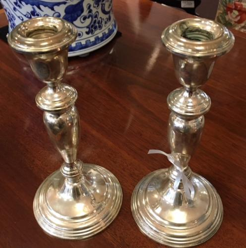 """PAIR OF STERLING CANDLESTICKS 8""""H $150"""