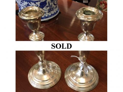 "PAIR OF STERLING CANDLESTICKS 8""H $150"