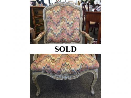 "FRENCH STYLE BERGERE CHAIR 26""W X 20""D X 36.5""H $295"